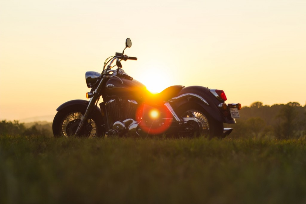 motorcycle with Vermont sunset